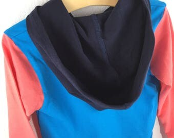 Long Sleeve T-Shirt Hoodie- Navy, Turquoise and Coral