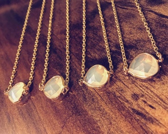 Short Chain Crystal Clear Gem Necklace // Adjustable Chain Choker