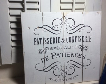 French bakery rustic sign, shabby chic, cottage decor, French decor, kitchen decor, dining room decor