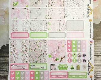 "SALE!!  Planner Stickers / Mini Kit ""Cherry Blossom"" / EC Vertical Weekly Kit"