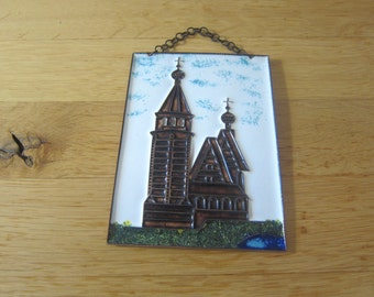 Vintage 70s enamel / Steg enamel on copper mural from the USSR Russian Orthodox Church with Lake