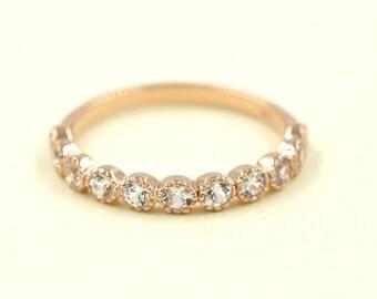 White Sapphire Wedding Band.Rose Gold Wedding Band. 0.70 Carat White Sapphire Wedding Ring.Simple Weding Band.White Sapphire Matching Band