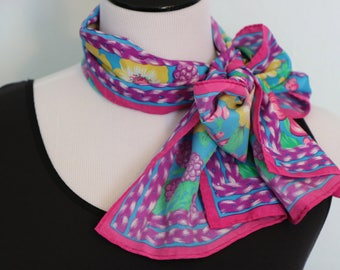 Vintage Long Floral Scarf, Long Scarf, Spring Scarf, Neck Scarf, Colorful Scarf, Pink Scarf, Head Scarf Hair Wrap, Fashion Scarf, Mom Gifts