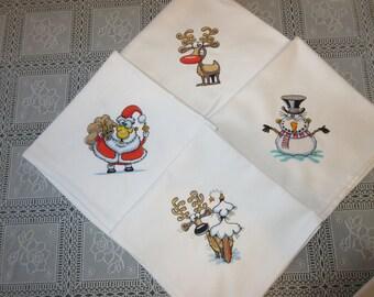 Funny Christmas family kids embroidered table napkins set of 4 christmas gift