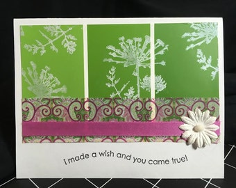 Handmade Stamped All Occasion Greeting Card with Green and Pink Accents