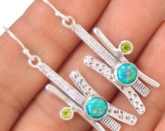 Fire Opal and Peridot Sterling Silver Earrings