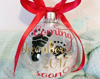 Custom floating pregnancy announcement ornament