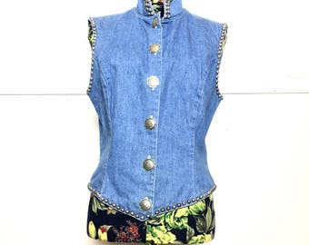 VTG 80s Denim Studded Vest