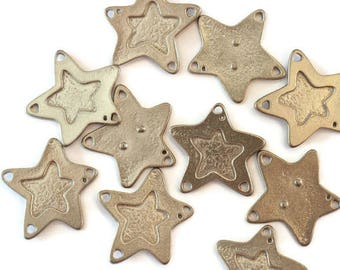 Pewter ring big top star for making jewelry LoB-17 (10 pieces)