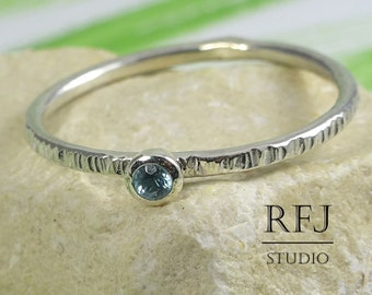 Natural Swiss Topaz Textured Silver Ring, December Birthstone 2mm, Textured Stack Ring Round Cut Swiss Blue Topaz Small Texture Stacker Ring