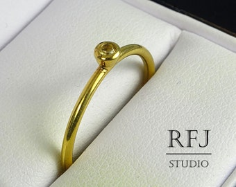 Yellow Gold Plated Natural Peridot Ring, August Birthstone Ring, 24K Gold Plated 2mm Round Cut Green Genuine Peridot Stacking Ring Gold Ring