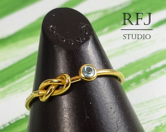 Natural Swiss Topaz 24K Gold Plated Infinity Knot Ring, Blue December Birthstone Eternity Knot Yellow Gold Plated Ring Knot Promise Ring