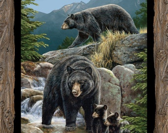 """Bear Fabric: Wild Wings Cool Waters Bear Wallhanging Panel - Black Bears 100% cotton Fabric by the PANEL 36""""x43"""" (SC89"""