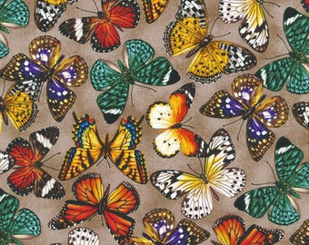 """In stock - New Butterfly Fabric: Fabri-Quilt You Bug Me Butterflies All Over  100% Cotton Fabric by the yard 36""""x43"""" FQ35"""
