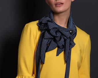 Jamie - Navy and Pale Blue Striped Collar, Button on Scarf, Unusual