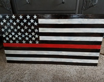 Handmade rustic wooden Firefighters flag