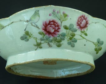 Antique Chinese Famille Rose Celadon Glaze Porcelain Bowl Dish Calligraphy Seal Mark