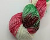 Sock Yarn - Under the Christmas Tree Colorway -  Merino Wool, Nylon Blend - Hand Dyed - Knit - Crochet - Fingering Weight