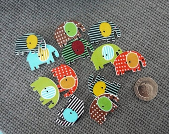10 x  Cute Bright Coloured Wooden Elephant Buttons with Check/Stripe/Plain design