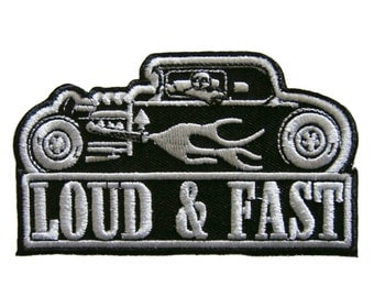 Loud & Fast Car Biker Embroidered Applique Iron on Patch 9.8 cm. x 5.7 cm.