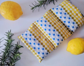 Organic wheat bag, Retro, yellow heat pack, heat pillow, cool pack, wheat pack, modern, gift for mum, gift for her, handmade gift