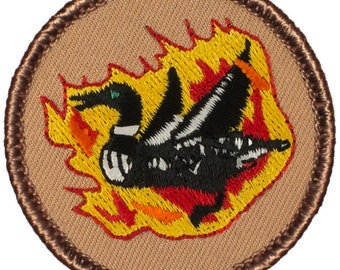 Flaming Loon Patch (265A) 2 Inch Diameter Embroidered Patch