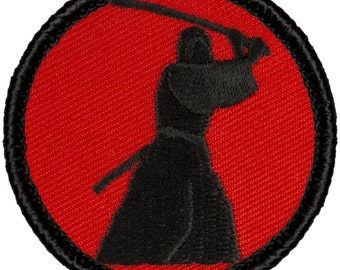 Red & Black Samurai Patch (R011) 2 Inch Diameter Embroidered Patch