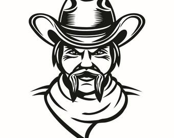 Cowboy #2 Scarf Herder Country Western Horse Bull Riding Rodeo Ranch Old Wild West Wrangler Logo .SVG .EPS .PNG Vector Cricut Cut Cutting