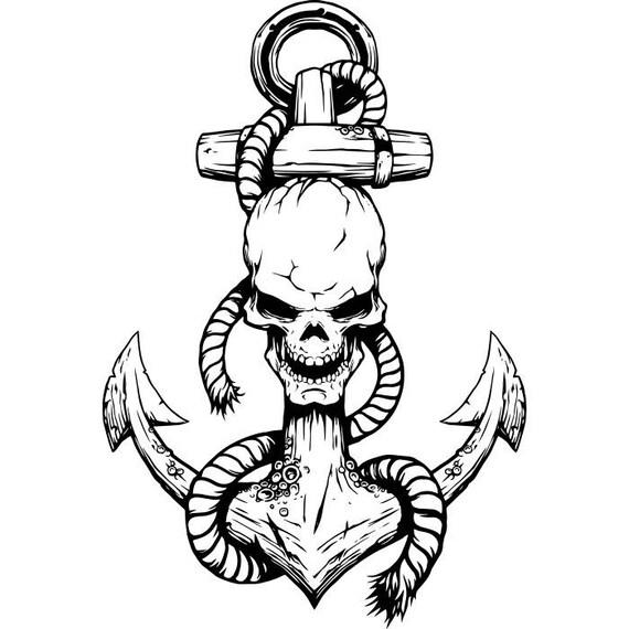 anchor logo 7 skull rope ship boat nautical marine sailing