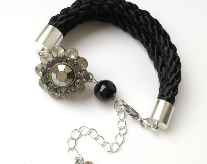 Black agate bracelet, Gemstone Bracelet, Charm Bracelet,Crystal bracelet, Gemstone jewelry, Rope Bracelet