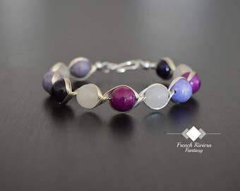 """Bracelet purple river stones,""""is handmade with natural stones and wire silver plated, the product is made in France"""