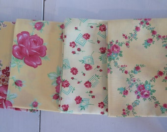 4 yellow fat quarters from Sugar Bloom by Verna Mosquera for Free spirit