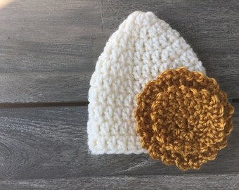 Newborn golden flower hat