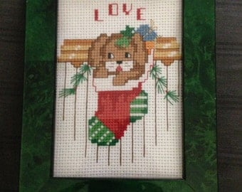 4.5x6 Finished Dog in Christmas Stocking Cross Stitch