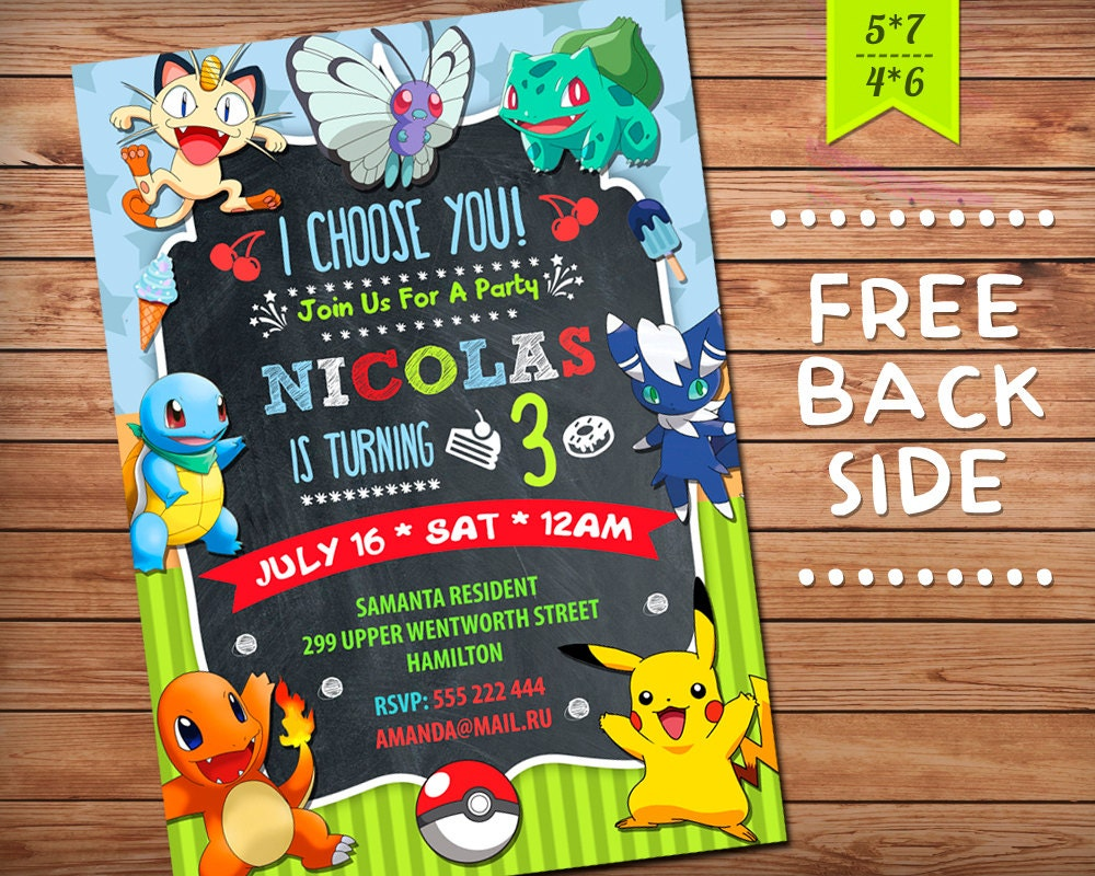 It is a picture of Superb Pokemon Invitations Printable Free