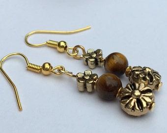 Handmade Tigers eye semi prescious gemstone earrings, flower earrings,drop style,nature inspired,earthy gifts