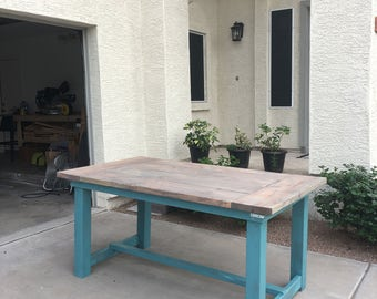 Distressed Turquoise Farmhouse Table