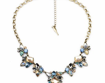 Ixora Floral Crystal Necklace Blue