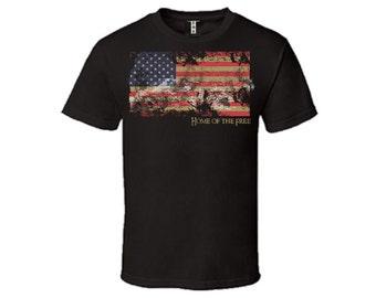Home of the Free Vintage USA Flag T-shirt
