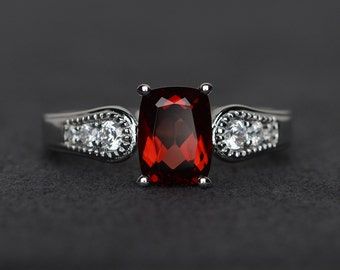 garnet ring silver red garnet wedding ring natural gemstone ring engagement ring January birthstone ring
