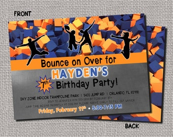 SkyZone Jump Trampoline Invitation Urban Air Bounce Jump Birthday