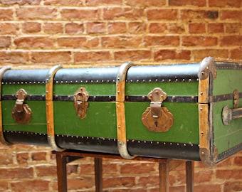 Well Travelled Green Bentwood Steamer Trunk