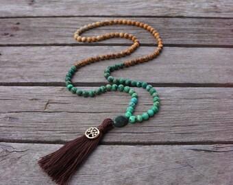 108 Mala Prayer Beads ~ 8mm Ombré mala ~ Picture Jasper & Crazy Lace Agate gemstones ~ Third Eye and Root Chakra meditation
