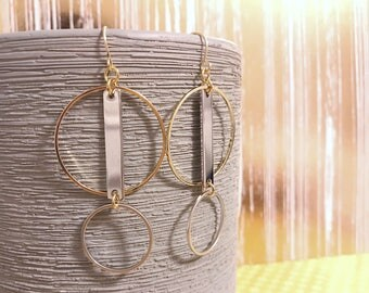 Geometric gold and silver earrings