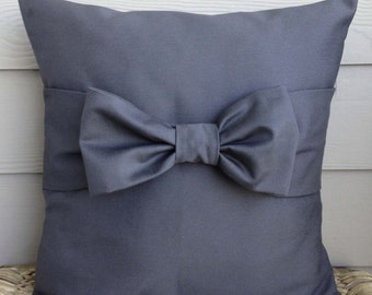 """Gray Pillow Cover. Bow Pillow Cover. Decorative Pillow Cover. 18"""" x 18""""."""