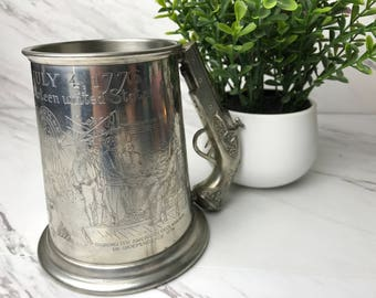 Leonard English Pewter Tankard Declaration of Independence - Eales Of Sheffield - Glass bottom Mug