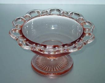 Anchor Hocking Lace Edge Pink Footed Compote, Old Colony, Depression Glass, Footed Bowl