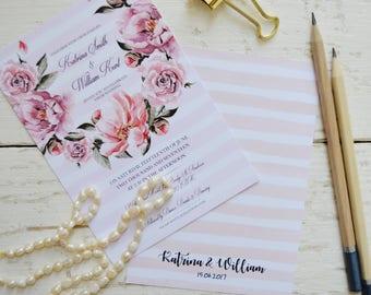 Bohemian wedding invitation kits, boho wedding invitation suite, boho wedding invite rustic, pink wedding invitations printed, wedding card