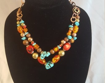 ON SALE, Beaded Necklace, Western Jewelry, Copper Jewelry, Western Necklace, Turquoise Necklace, Turquoise beads, Bib Necklace, Copper Beads