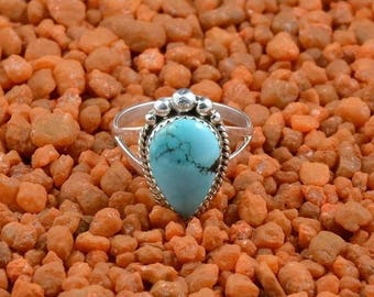 Bague amérindienne Navajo en argent sterling,femme,Taille 58,Size 8 1/2,turquoise Sleeping Beauty,Jamison Kee